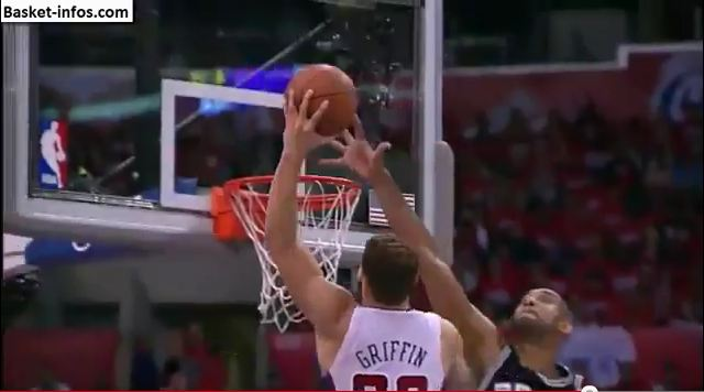 Blake Griffin Dunks On Tim Duncan During Game 3!