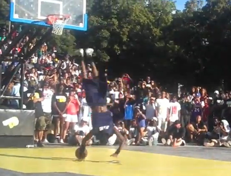 Jus Fly wins Quai 54 dunk contest w/ a Cart wheel under both legs dunk