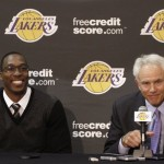 Los Angeles Lakers Howard and general manager Kupchak speak during press conference at the Lakers practice facility in El Segundo