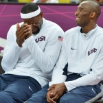 US forward LeBron James (L) chats with U