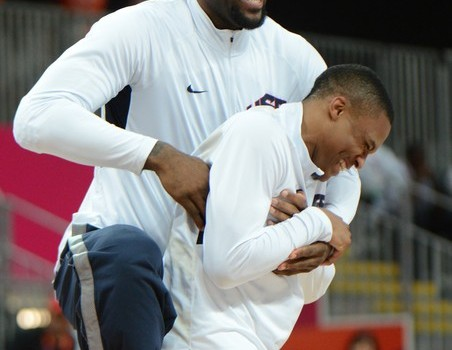 US forward LeBron James (L) and teammate