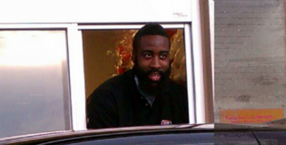 James Harden Serves Food at chicken restaurant Raising Canes