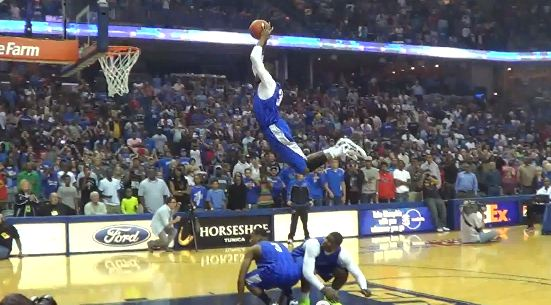 DJ Stephens Jumps Over 2 Ppl From Freethrow Line! Gets UP!