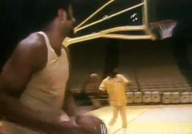 Wilt Chamberlain wins $5 bet by making 4 straight hook shots from 3 point range