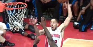 Tayshaun Prince nasty dunk over Glen Davis