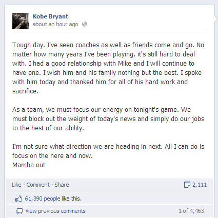 Kobe Bryant addresses Mike Brown firing on Facebook