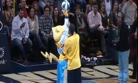 Random Fan SHOWS UP Nuggets Mascot!! Dunks OVER Him Without Trampoline!?!?