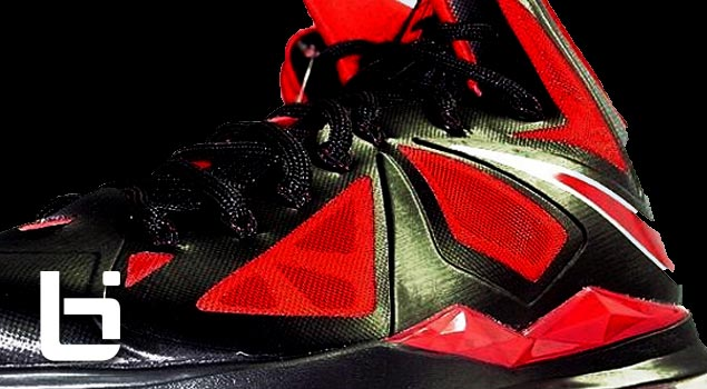 NIKE LEBRON X BLACK/UNIVERSITY RED-METALLIC SILVER