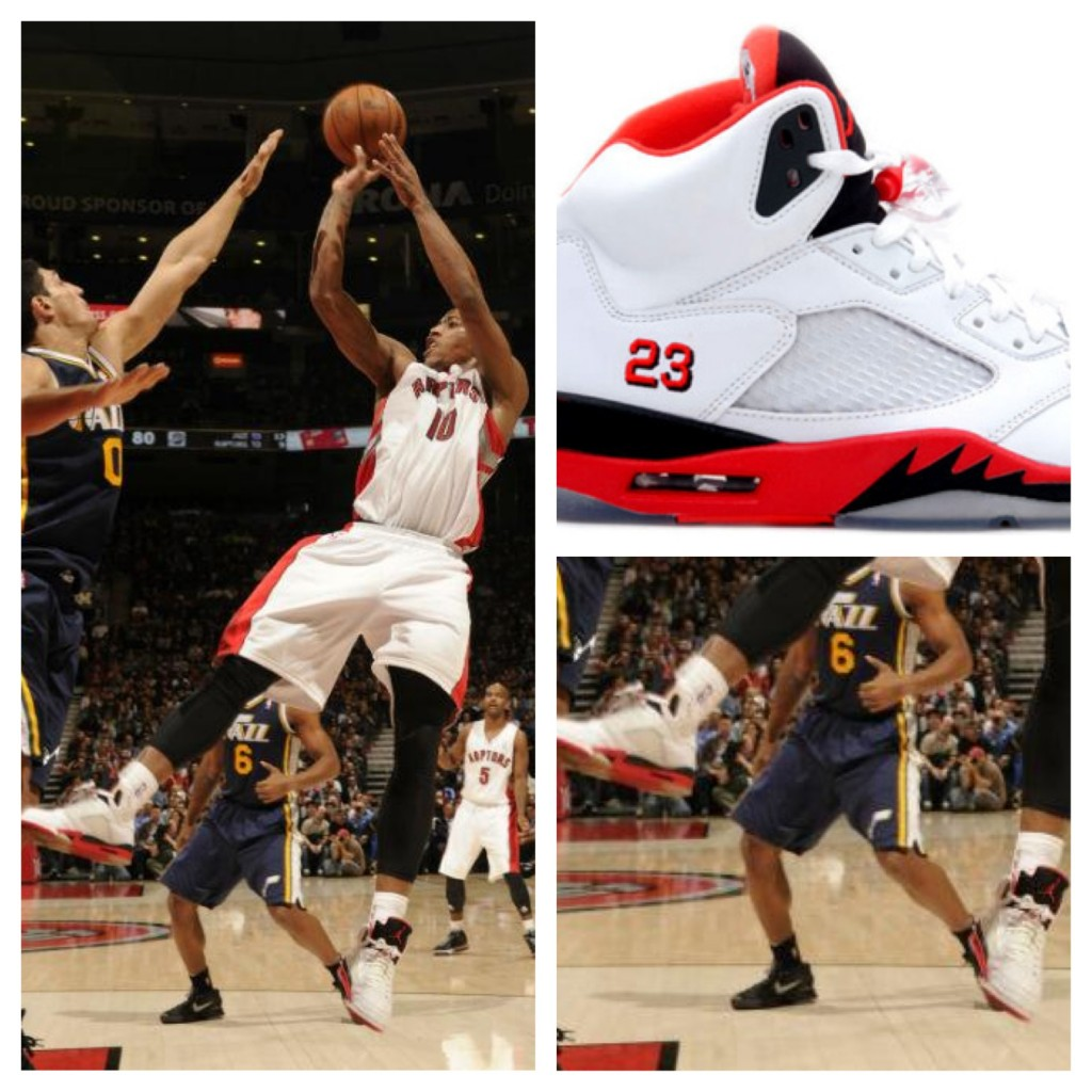 "Demar Derozan Wears ""Fire Red"" Air Jordan V  In Career High Night"