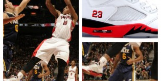 Demar Derozan Wears Fire Red Air Jordan V  In Career High Night