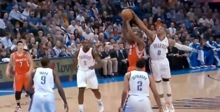 James Harden vs his OKC brothers! Westbrook blocks Harden, Harden steals it, then Ibaka gets the swat!