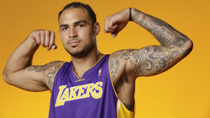 Celebration Mix of Lakers Robert Sacre Celebrating