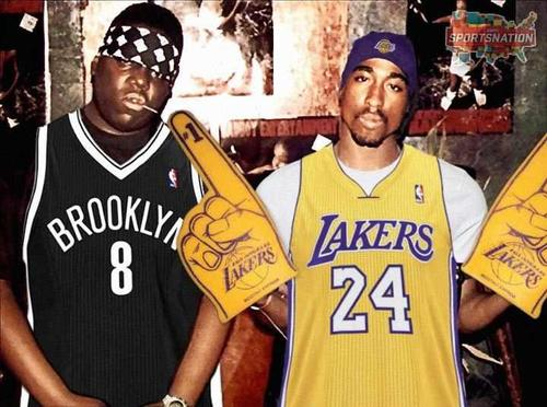 super popular 6a6fa 7d029 2pac & Biggie showing their support for the Lakers ...