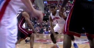 Andre Drummond leaves Shane Battier Frozen after Cross & drives for the scoop layup