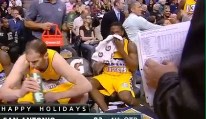 Kenneth Faried Throws Up On The Bench On His Way To a Double Double as Teammates Run Scared