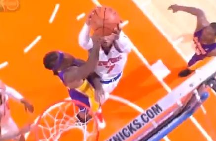 Carmelo Anthony Drives & Dunks On Jordan Hill vs Lakers And 1!