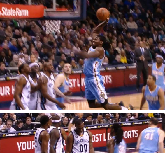 Kenneth Faried steals the offensive rebound, dunks hard & hurts Darrell Arthur's feelings