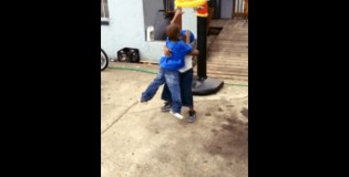 3 Year Old Dunks All Over Another 3 Year Old on Fisher Price Hoop! Hilarious!