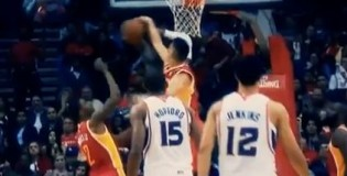 Jeremy Lin MONSTER Block on Josh Smith!