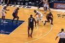 Paul George shows off his handles to LeBron and Wade then hits the jumper