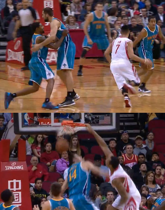 Ryan Anderson sets the screen so Jeremy Lin can make a no look pass to one Smith to dunk on another