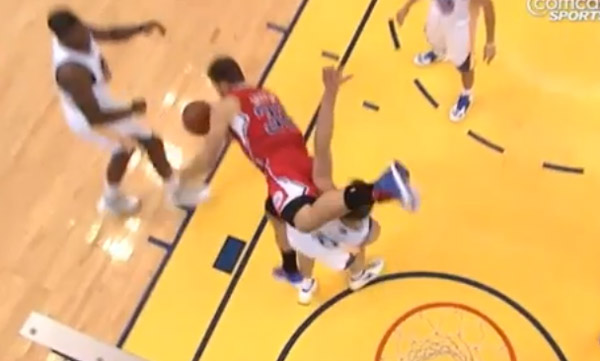 Blake Griffin falls hard after foul by Festus. Flop or Not?