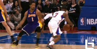 Chris Paul warm up crossover then ankle breaker on Darius Morris