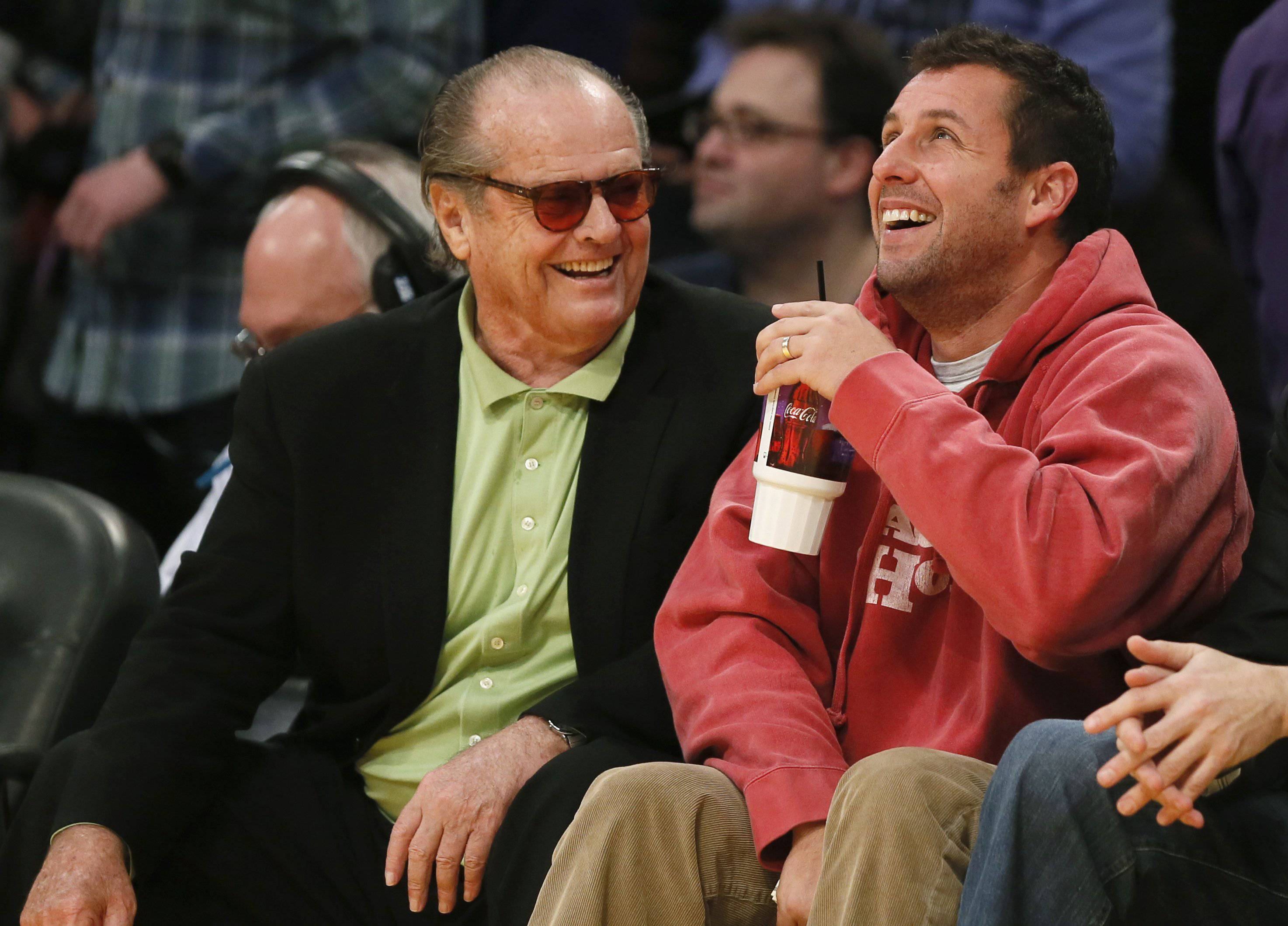 Anger Management Jack Nicholson Adam Sandler Leave The Lakers Game Early During 4th Quarter Blowout Ballislife Com