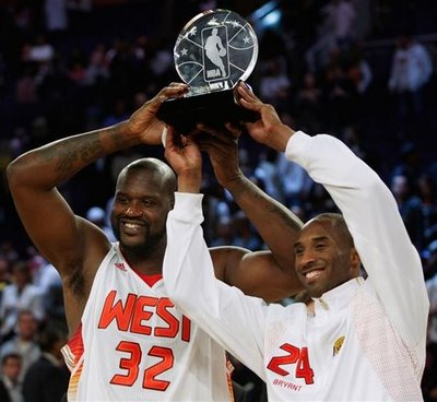2009 NBA All Star Game - NBA All Star Game Co-MVPs Shaquille O'Neal and Kobe Bryant