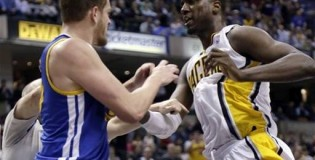 Warriors Pacers NBA Brawl – Hibbert & Lee shoving match