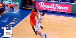 Ok State Freshmen Marcus Smart w/ Steal To NASTY Thowdown on Jeff Withey of #2 Ranked Kansas!