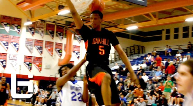 Ballislife | Troy Williams 2 hand oop on Defender
