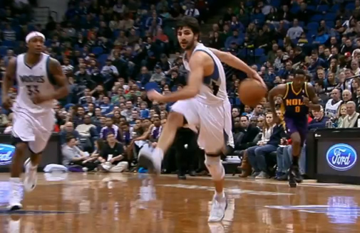 Ricky Rubio freezes defender & fakes out camera man with behind the back dribble