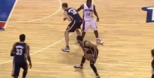 Will Bynum punches Psycho T (Tyler Hansbrough) in the gut