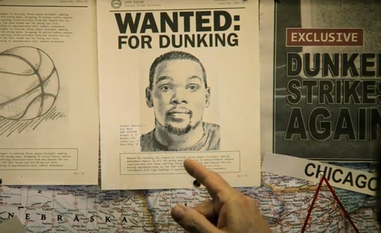 "Commercial: Kevin Durant is the ""nicest guy in the NBA"" & wanted for dunking"