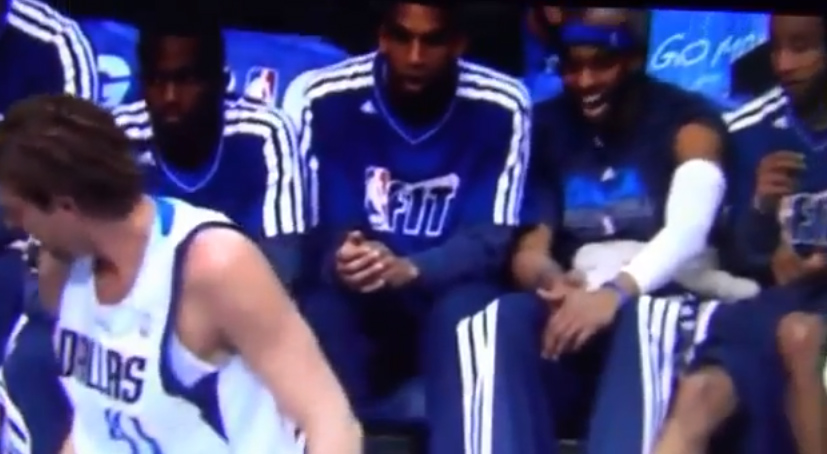 Mavs bench laughs at Dirk trying to tear off an audio wire