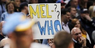 "Nuggets fans chanting ""Where is Melo"""