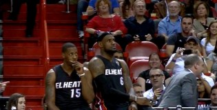 LeBron Starts Dancing During Timeout, Lady In Stands Behind Him Starts Doing The Same