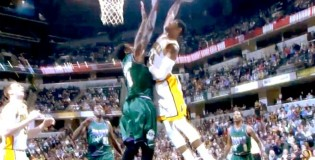 Paul George NASTY Poster Dunk ALL ON NBA&#8217;s #1 Shotblocker Larry Sanders!!