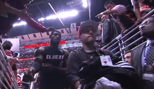 Chicago Fan Grabs LeBron's headband & pisses off James