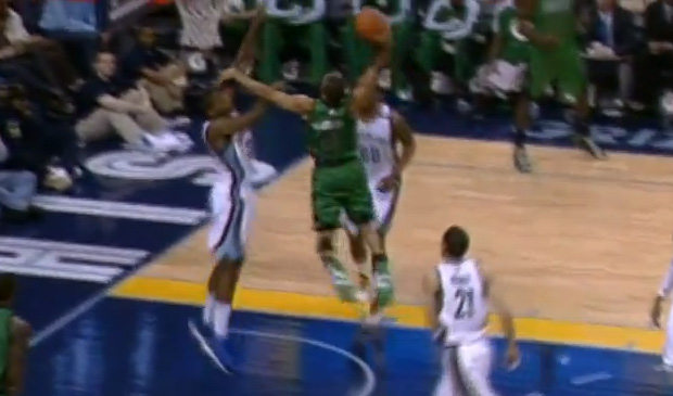 Avery Bradley with the impressive dunk, offensive foul or both on Ed Davis