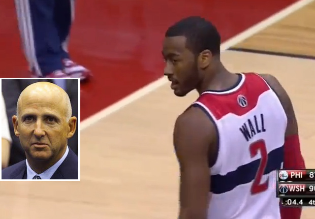 John Wall's death stare to agent David Falk & 360 layup against the 76ers