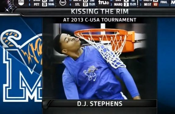 Announcers go crazy and scream after D.J. Stephens dunk / Tigers Warm-up Dunks