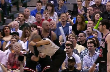 "Boozer accidentally punches ref Danny Crawford in the groin; ref doesn't say ""meet me after, I'll f*@# you up"""
