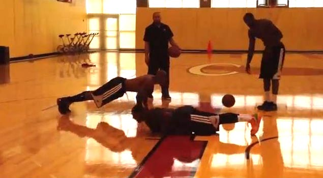 LeBron James makes Ray Allen & Mario Chalmers do Push-Ups after Beating Them in Shooting Contest