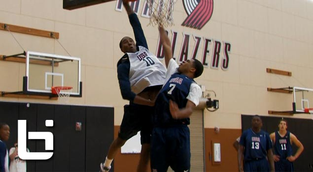 Team USA Players Take Turns Trying To Dunk On Each Other As Part of a Drill at Nike Hoop Summit Practice