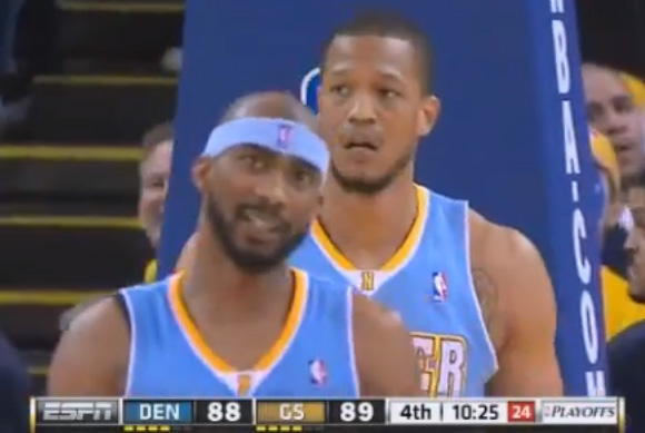 Anthony Randolph goaltends Harrison Barnes shot that had no chance of going in!