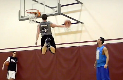 Dunk fest with 3 short white guys / J-Kills kills the 360 between the legs dunk!