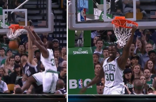 Brandon Bass dunks on Brook Lopez then shows off his teeth