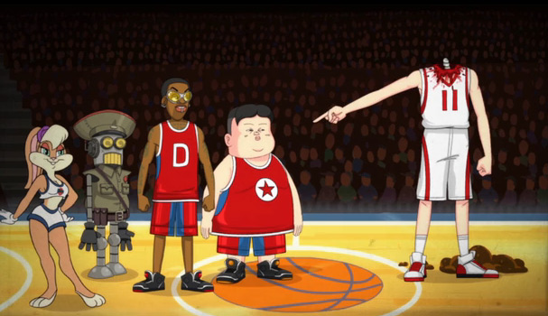 Kim Jong Un & Dennis Rodman play against Yao Ming in Space Jam remake